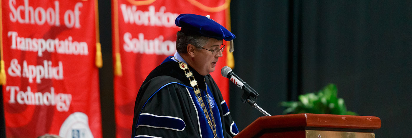Image of Chancellor speaking at Commencement