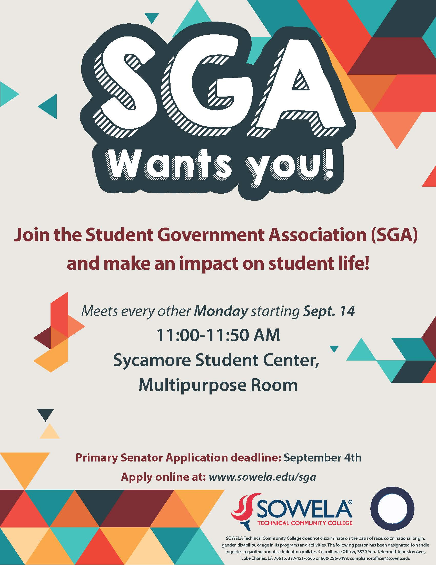 SGA Wants You! Join the Student Government Association (SGA) and make an impact on student life! Meets every other Monday starting September 14th from 11:00 to 11:50 AM in the Sycamore Student Center Multipurpose Room. Primary Senator application deadline: September 4th.