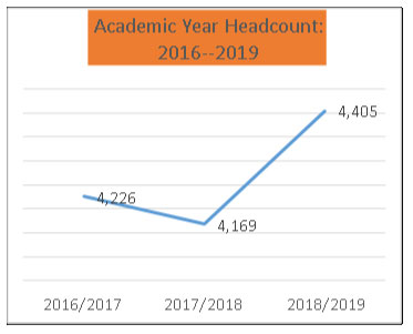 Line chart showing growth in headcount from 2016-2019